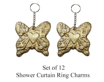 Decorative Shower Curtain Ring Charms...Butterflies with Hearts.
