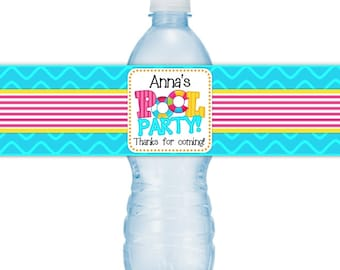 Pool Party Birthday Water bottle Labels, CUSTOM Printable Pool Party Water bottle Labels, you print, you cut, DIY water bottle labels