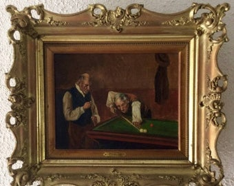 Sale Antique Oil Painting Dutch Old Master Van Inken Portrait of Gentleman Playing Snooker Signed O/C European Art Period Gilt Frame