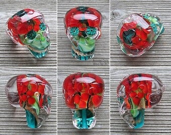 Sugar Skull lampwork bead XL with 3D flowers inside
