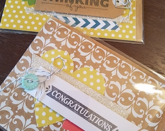Handmade Set of 2 assorted blanm greeting cards
