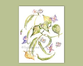 Kitchen Print, Vegetable Print, Kitchen Wall Art, Green Beans, Gift for Gardener, Kitchen Decor, Kitchen Watercolor Painting