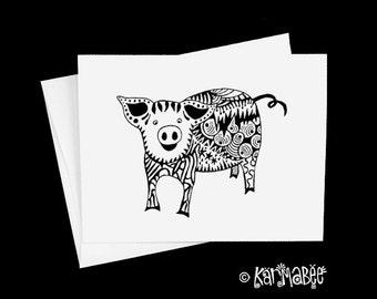 Pig Note Card Blank Notecards