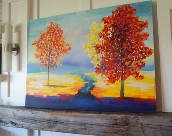 Fall tree painting, original wall art,  authentic red yellow trees painting 30x40