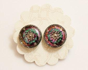 Colorful Earring Studs, Glass Flower Earrings, Czech Glass Jewelry , Gifts Under 20
