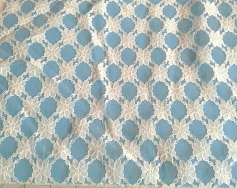 Floral Ivory Lace Fabric 1 1/4 Yards X1080
