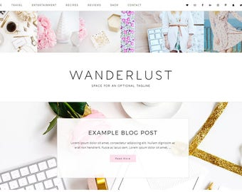 Responsive Wordpress Theme Wanderlust - Genesis Child Theme - Wordpress Template - Wordpress Blog - Blog Design