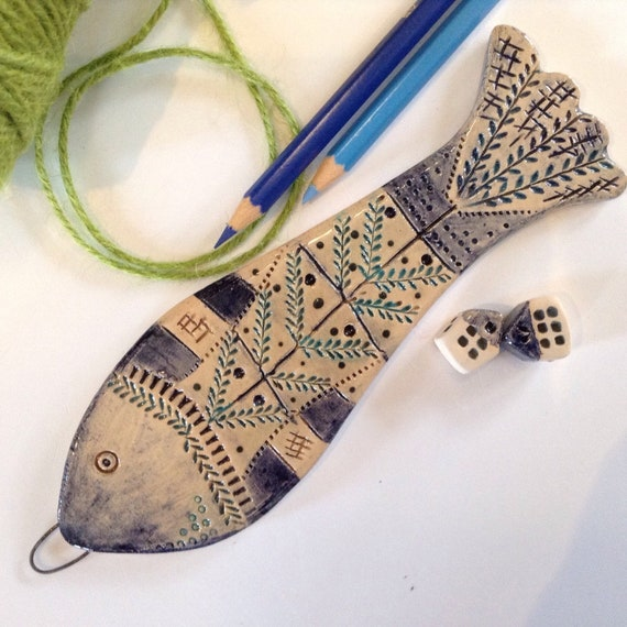 Ceramic fish, hanging fish, handmade, hand glazed, hanging decoration, coastal decoration, ornament, colour and pattern, beach hut decs