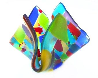 Glasmalerei Mosaik Vase l Kerze Halter l Schale Konfektschale