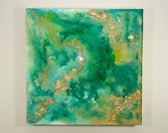 MERMAID TAIL - Resin Painting (20x20) Abstract Art, Resin Art, Gold Leaf, Home Decor, Unique Painting, Interior Decorating, House Warmin