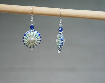 Handmade Earrings Blue Earrings Blue Cloisonne Earrings Blue Silver Earrings Cloisonne Dangle Earrings Blue Dangle Earrings Silver Dangle
