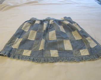 Vintage Blue and White Check Apron