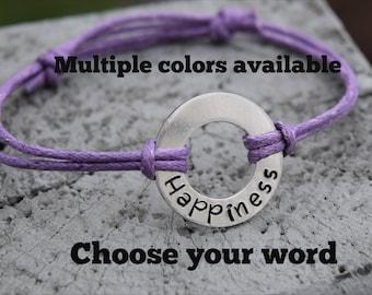 Washer word bracelet.  Washer bracelet.  Choose any word adjustable bracelet.  Cotton cord bracelet. Personalized washer cord bracelet
