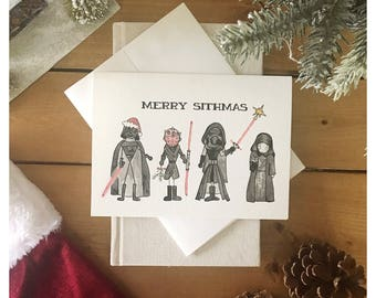 Merry Sithmas // Star Wars Christmas Card, Star Wars Card, darth vader, darth vader card, kylo ren, kylo ren card, star wars christmas, sith