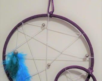 """Dreamcatcher, beads, feathers, suede, 7"""" hoop, 3"""" hoop"""