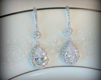 Crystal Bridal Earrings Wedding Earrings Wedding Jewelry for Brides Statement Bridal Earrings Bride Jewelry Set Swarovski