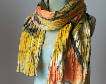 hand painted pleated silk scarf in coral, gold and grey