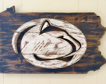 Rustic Penn State Lion Logo Sign, 5 Sizes to Choose From