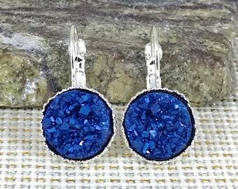Arctic Blue Druzy Earrings - Druzy - Leverback Earrings - Blue Earrings - Druzy Jewelry - Bridesmaid Gift - Drop Earrings - Druzy Earrings -