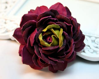 Purple Olive Leather Rose  Flower Brooch/Hairclip