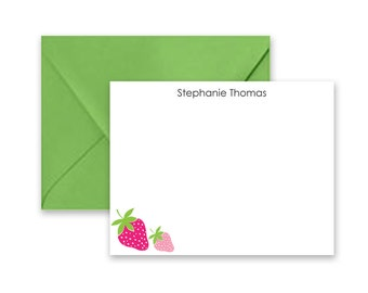 Personalized Notecards with Strawberries