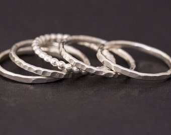 Stackable Rings, Sterling Silver Rings, Stacking Rings, Silver Ring, Women, Girls, Dainty Ring, Ring Set, Everyday Jewelry, Stack Rings