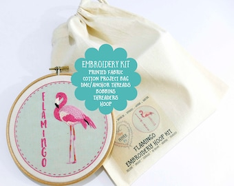 DIY Embroidery Kit Flamingo Beginner Embroidery Kit DIY Hoop Art Summer Hand Embroidery Kits. Embroidery Pattern Easy Embroidery Kit Designs