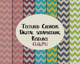Textured Chevrons Digital Scrapbook paper resource for personal or commercial use instant download
