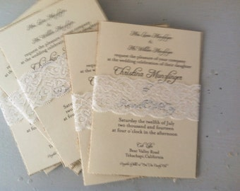 Lace Wedding Invitation, Mint Wedding Invitation, Belly Band Wedding Invitation, Ivory Wedding Invitation-150 Count