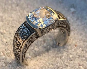 Rockin Out Jewelry - Riata - Sterling Silver - CZ - 8mm - Statement - Engagement - Wedding - Womens - Ring - Elegant - Classy - Valentines