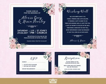 Wedding Invitation Suite / The Grey Suite / Custom Navy Pink Floral Printable Invite RSVP Set / by Infinite Eleven Designs - DIGITAL FILES