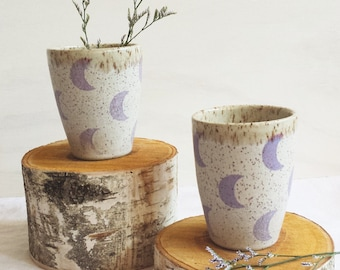 Ceramic Cup / Tumbler with Purple Crescent Moons