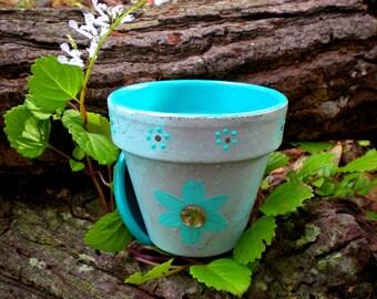 Painted Flower Pot - Bohemian Decor - Succulent Planter - Herb Planter