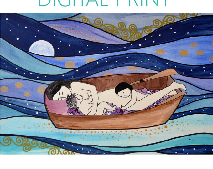 "DIGITAL ""Sweet Dreams"" print/poster /Birth Art/ cosleeping/ motherhood / gift for new mom"