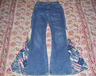 Hippie Bell Bottom Jeans OOAK Patriotic Bells Colorful Boho Patchwork Upcycled Silver Brand Flare Jean Unique Bell Bottoms Adult 26 x 35