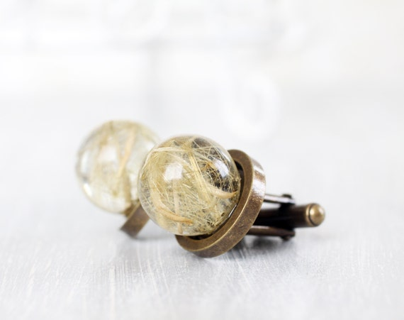 Resin Orb Globe Cuff links - Real flower Cuff links - Dandelion Cufflinks