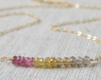 Pink and Yellow Tourmaline Necklace, Smoky Quartz, Real Gemstone, October Birthstone, Sterling Silver or Gold Jewelry, Free Shipping
