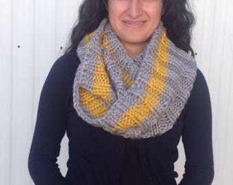 Grey and gold stripe handknit scarf