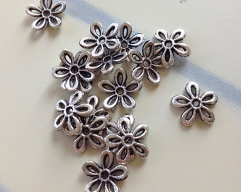 Silver Plated Bead Caps,Destash 15 Antique Silver Plated 12mm Flower Bead Caps