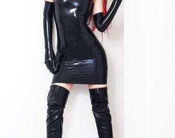 Mini Halter Neck Latex Dress Without Zipper Open Chest. Wetlook, Shiny, Little Black Dress.