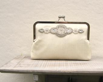Champagne clutch, rhinestone clutch, great gatsby clutch, champagne bridal clutch, pearl purse, bridesmaid clutch, champagne clutch purse