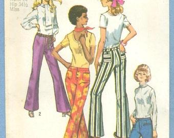 1970 Misses' Set of Slim-Cut Hip-Hugger Pants Size 10 - Vintage Simplicity Sewing Pattern 9069