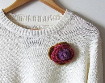 Crochet Rose Brooch - Handmade Yarn Brooch - Hand Knit Flower Brooch - Ready To Ship