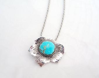 Blue Gem Poppy Necklace - Sterling Silver, Battle Mountain Blue Gem Turquoise, Pendant