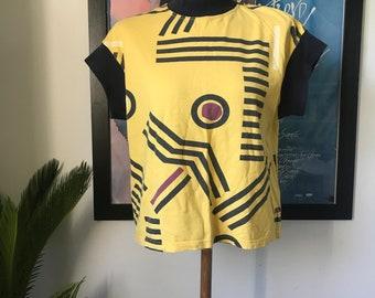 Vintage Marimekko T-Shirt / Size M (ladies) fits Small / 1980s Finland / Yellow and black