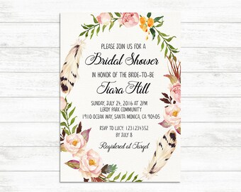 Bridal Shower Invitation, Printable Bridal Invite, Floral Bridal Shower Invitation, Rustic Boho Bridal Shower Invite, Bride to be Invite