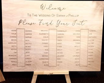 Etched Timber Seating Wedding Sign. Engraved Sign, Timber Sign, Rustic wedding sign, Seating Plan,