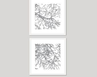 Modern Tree Branches Art Prints - Set of 2 Square Prints - Modern Nature Wall Art - Slate Grey and White - Contemporary Minimalist Tree Art