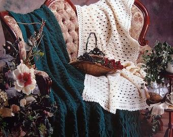 One Color Wonder Afghans By Annie's Attic Vintage Crochet Pattern Leaflet 1997