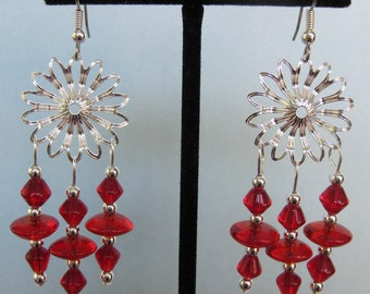 Red Glass Bead Flower Chandelier Earrings